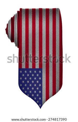 American flag on rolled up tie isolated on white background. Patriotism or Fourth of july concept. - stock photo