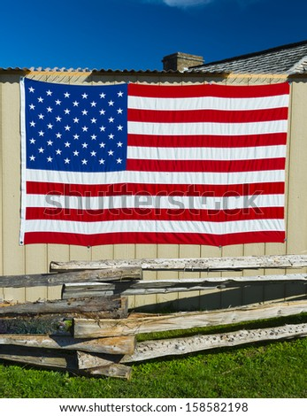 American Flag on Shed - stock photo