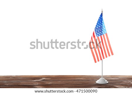 American Flag On Table Isolated White