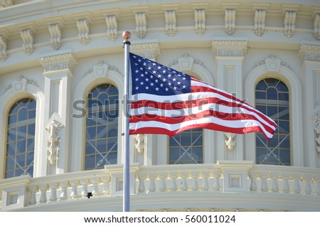 American flag on the background of the Capitol