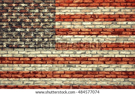 American flag on the brick wall background