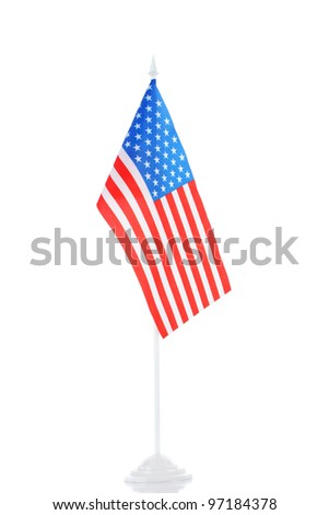American flag on the stand isolated on white - stock photo
