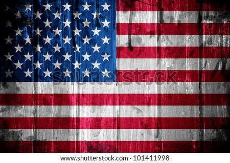 American flag overlaid with grunge texture - stock photo