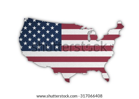American flag pattern in country map shape on cotton fabric texture textile on white background: United States of America map with white/ red stripes and stars on blue patterned flag in vintage tone   - stock photo