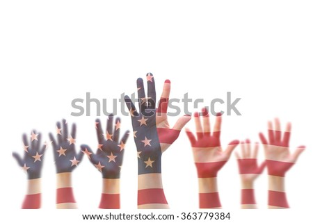 American flag pattern on people hand group against isolated white background: Many blur human open palm raising upward showing US vote GYSD volunteering participation election Civil rights day concept - stock photo