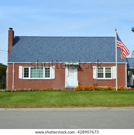 American Flag Pole Beautiful Brownstone Brick Bungalow Home Residential Neighborhood Sunny USA