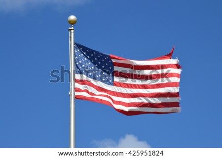 American Flag Pole Blue Sky Clouds