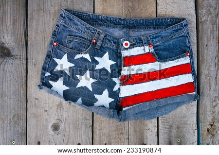 American flag shorts background - stock photo