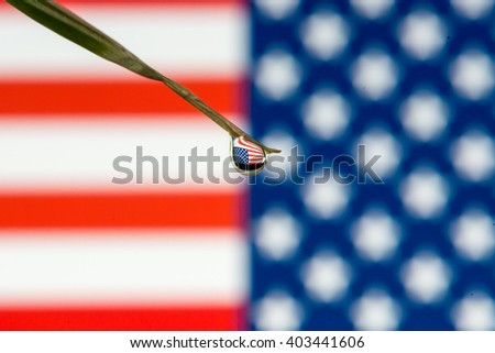American flag through water drop