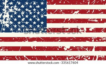 American flag vintage textured background. raster illustration Veterans day - stock photo