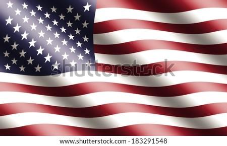 American Flag Waving - stock photo