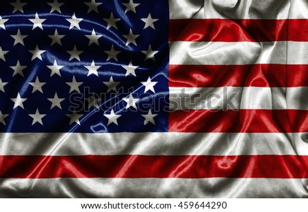 American Flag - waving fabric background, wallpapers, close-up