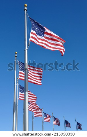 American Flag Waving in the Wind - stock photo