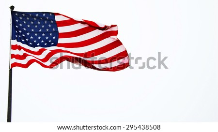 American flag waving isolated on white - stock photo