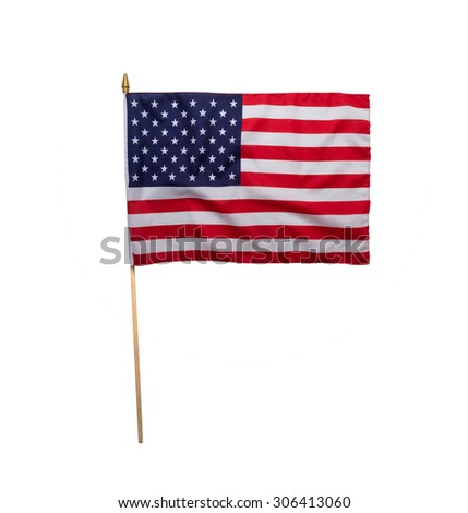 American flag waving isolated on white