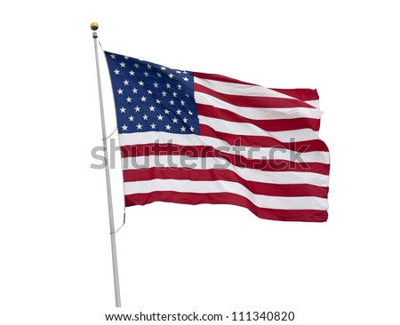 American flag waving isolated on white with clipping path - stock photo