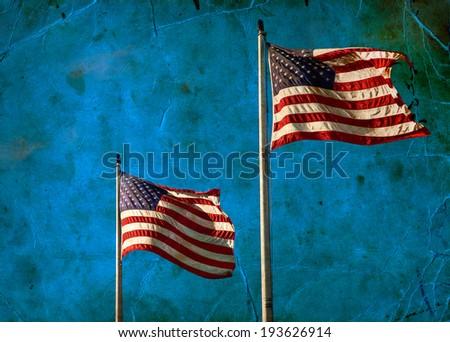 American flag waving on blue sly. Retro background - stock photo