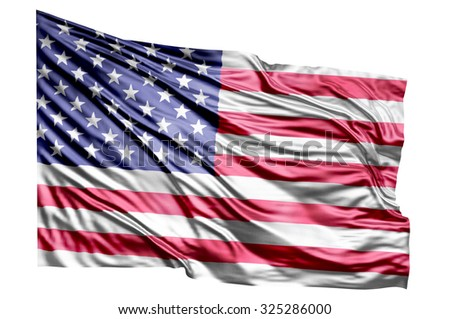 American Flag Waving on white background - stock photo