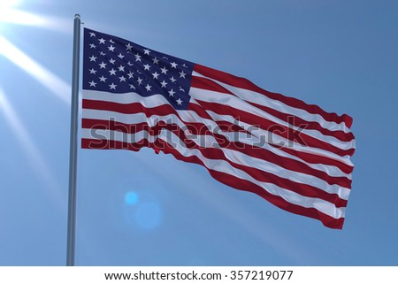 american flag waving on wind