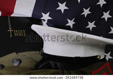 American flag with Bible and Military Uniform - stock photo