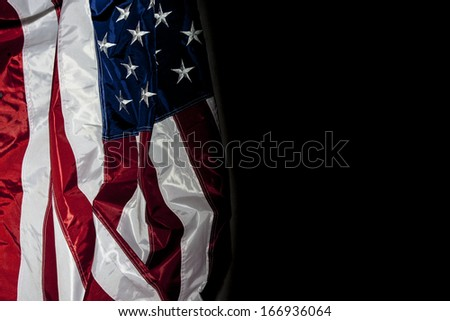 American Flag with black background for copy space - stock photo