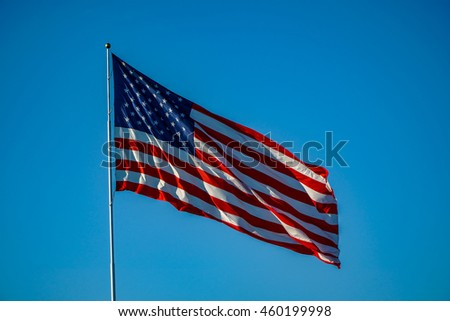 American Flag with Blue Sky