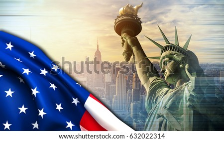 American flag with copyspace on New York city