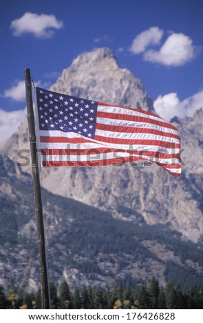 American Flag with Mountains, Grand Teton National Park, Wyoming