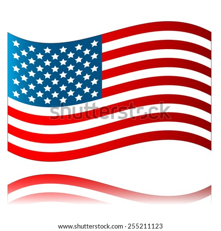 American flag with reflection isolated on a white