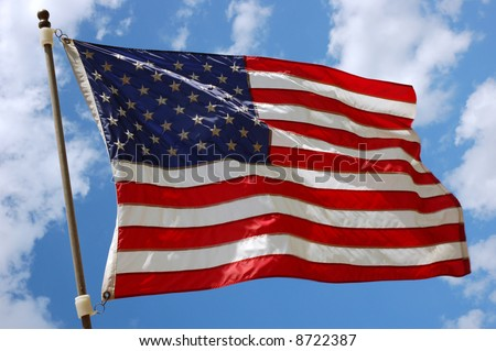 American Flag with Sky & Clouds background