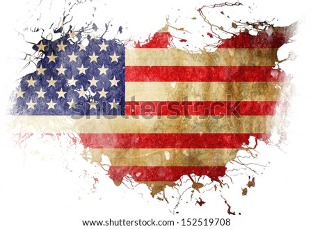 American flag with some grunge effects and lines - stock photo