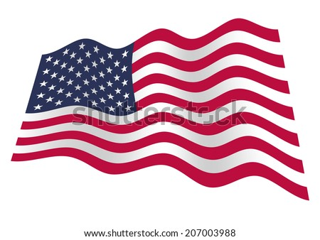 American flag with stars and stripes waving on the wind