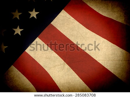 American Flag worn and old with texture - stock photo
