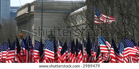 American Flags Along New York City's St. Patrick's Day  Parade Route