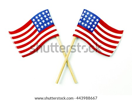 American Flags crossed isolated on white