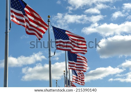 American Flags in the Wind - stock photo