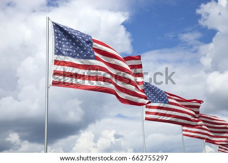 American flags of a memorial for veterans flying in the wind