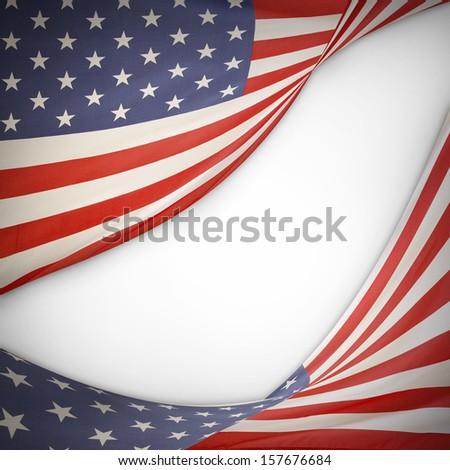 American flags on plain background. Copy space - stock photo