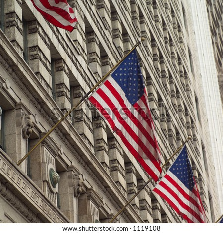 American flags outside a building - stock photo