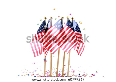 american flags with confetti. isolated on white - stock photo
