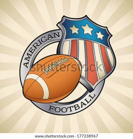 American football badge with a star striped shield and a leather ball. Raster image (check my portfolio for options.)