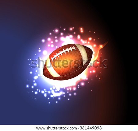 American Football Ball- Fire Background