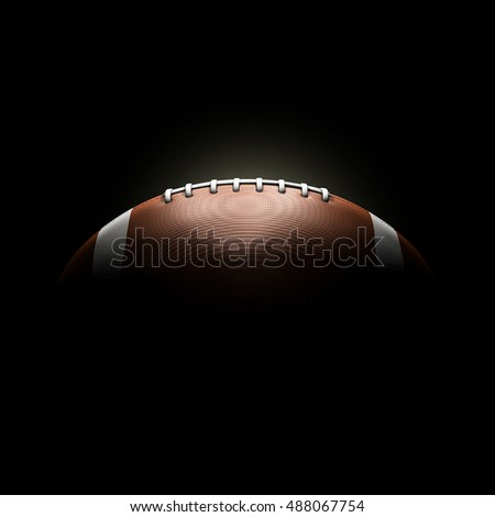 American football ball on black background concept 3d rendering