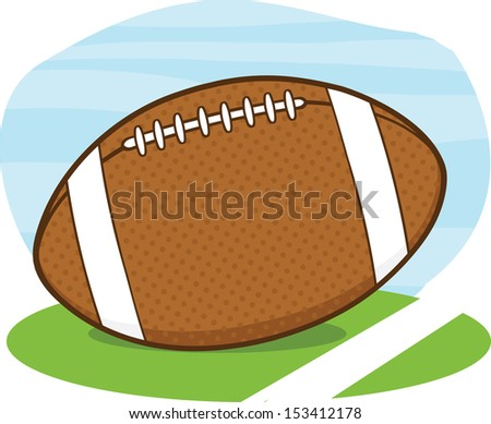 American Football Ball On Field Cartoon Illustration. Raster Illustration