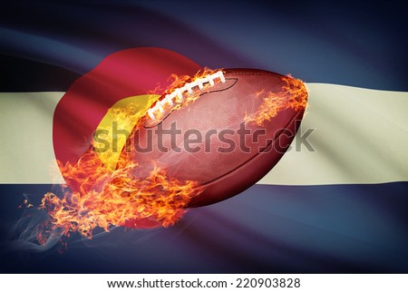 American football ball with flag on background series - Colorado