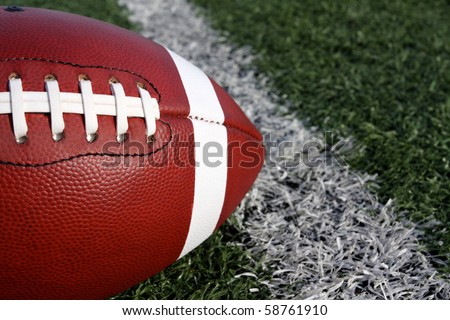 American Football Close up near the yard line