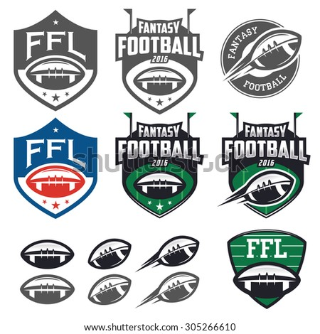 American football fantasy league labels, emblems and design elements - stock photo