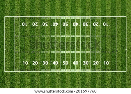 American football field with hash marks and yard lines. Grass textured. - stock photo
