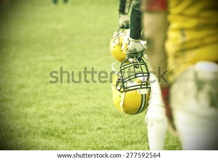 American football game - retro styled photo - stock photo