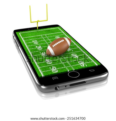 American Football Grass Field with Ball on Smartphone Display 3D Illustration Isolated on White Background - stock photo